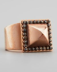 Rebecca Minkoff | Brown Rose Golden Pave Pyramid Stud Ring | Lyst