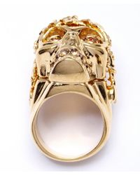 Alexander McQueen | Metallic Gold Brass And Swarovski Crystal Punk Skull Ring | Lyst