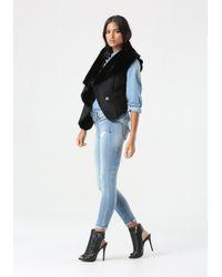 Bebe Black Faux Suede & Faux Fur Vest