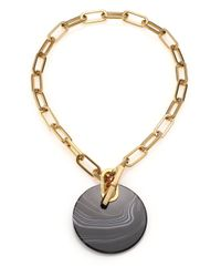 Michael Kors | Cityspace Disc Black Agate Toggle Pendant Necklace | Lyst