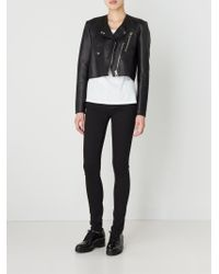 MM6 by Maison Martin Margiela Black Cropped Biker Jacket