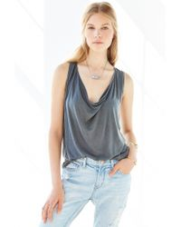 Truly Madly Deeply Black Cowl-neck Tucked Tank Top