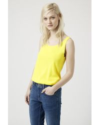 TOPSHOP - Yellow Cotton Blend Scoop Neck Vest - Lyst