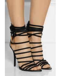 Giuseppe Zanotti Black Leather Wing Sandals