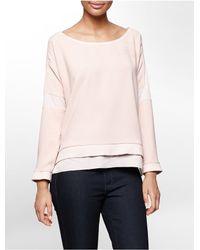 Calvin Klein - Pink Jeans Textured Block Woven Sweatshirt - Lyst