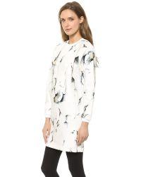 3.1 Phillip Lim Folded Printed Sweatshirt Dress Soft White