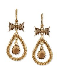Betsey Johnson | Metallic Antique Goldtone Topaz Crystal Bow Orbital Earrings | Lyst