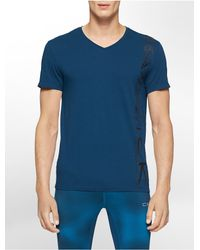 Calvin Klein | Blue White Label Performance Geometric Print Cotton Modal V-neck T-shirt for Men | Lyst