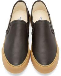 Junya Watanabe - Black Leather Steer Slip-on Sneakers for Men - Lyst