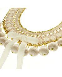 Margot & Me - Metallic Crochet Necklace Leia In Nature - Lyst