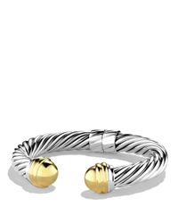 David Yurman | Metallic Cable Classics Bracelet With Gold Domes | Lyst