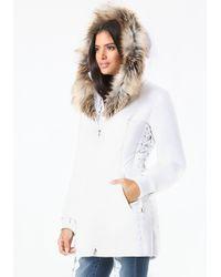 Bebe White Lace Up Puffer Coat