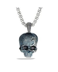 David Yurman - Gray Waves Skull Amulet for Men - Lyst
