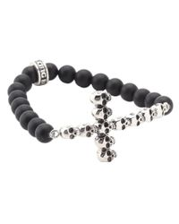 King Baby Studio Black Onyx Bead Bracelet With Multi Skull Cross for men