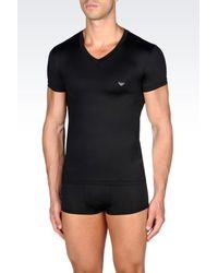 Emporio Armani | Black Microfiber Undershirt for Men | Lyst