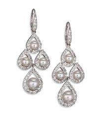 Majorica | 6mm-8mm White Round Pearl & Sterling Silver Pave Teardrop Chandelier Earrings | Lyst