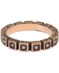 Nak Armstrong | Pink Rose Gold Diamond Squares Ring | Lyst