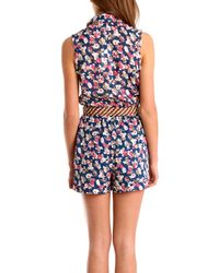 Charlotte Ronson | Blue Floral Romper | Lyst