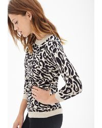 Forever 21 - Black Leopard Print Crew Neck Sweater - Lyst