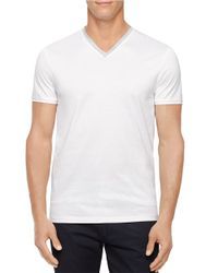 Calvin Klein | White Short Sleeve V-Neck Tee for Men | Lyst