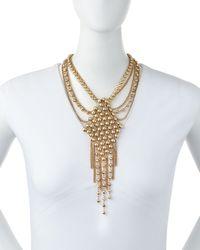 Fragments - Metallic Mixed-chain Diamond-shape Pendant Necklace - Lyst