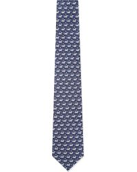 Ferragamo | Blue Dog On Rope Silk Tie for Men | Lyst