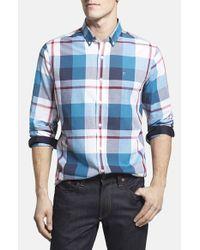 Victorinox - Blue 'trent' Tailored Fit Plaid Sport Shirt for Men - Lyst