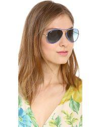 Ray-Ban Metallic Acetate Covered Aviator Sunglasses - Red