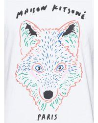 Maison Kitsuné - White Fox Print Tee for Men - Lyst