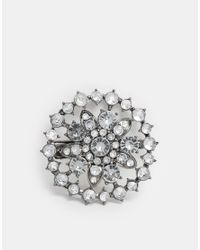 ASOS - Metallic Vintage Rhinestone Clip On Brooch - Lyst