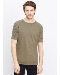Vince Brown Refined Slub Cotton Raglan Sweatshirt Tee for men