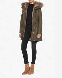 Sam. - Green Tribeca Fur Lined Coat: Army - Lyst
