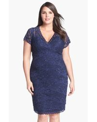 Marina Blue Tiered Lace Dress