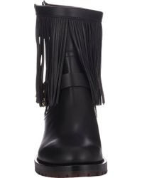 Valentino | Black Fringe-Trim Biker Boots | Lyst