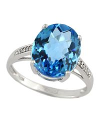 Effy | 14kt. White Gold And Blue Topaz Ring With Diamonds | Lyst