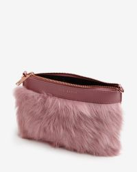 Ted Baker | Pink Faux Fur Leather Clutch Bag | Lyst