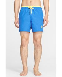 Vilebrequin Blue 'moka' Two-tone Swim Trunks for men