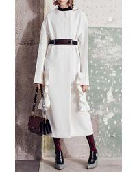 Marni White Cotton Crepe Long Ruffle Coat