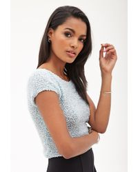 Forever 21 - Green Chenille Crop Top - Lyst