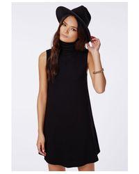 Missguided Raina Sleeveless Roll Neck Swing Dress Black
