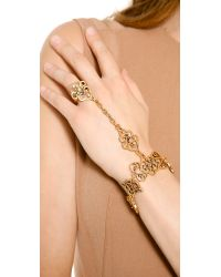Oscar de la Renta | Metallic Bracelet with Ring Attached | Lyst