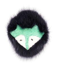 Yves Salomon | Black Fox Face Fur Pin Badge | Lyst
