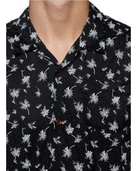 Scotch & Soda | Black Hawaiian Tree Print Cotton Shirt for Men | Lyst