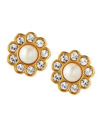 kate spade new york - Metallic Faux Pearl Flower Stud Earrings - Lyst