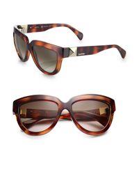 Valentino Brown 56Mm Pyramid-Stud D-Frame Sunglasses