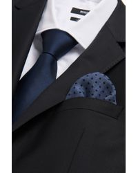 BOSS - Blue 'pocket Square 33 X 33' | Reversible Wool Pocket Square for Men - Lyst