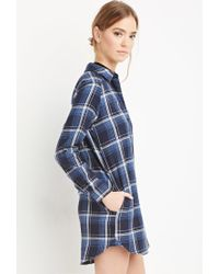 Forever 21 | Blue Plaid Flannel Shirt Dress | Lyst