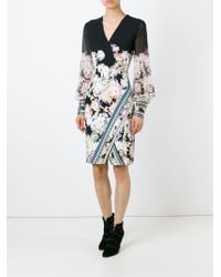 Roberto Cavalli - Black Floral Wrap Dress - Lyst