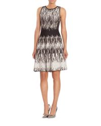 NIC+ZOE - Black Abstract Ikat Fit-and-flare Dress - Lyst