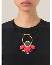 Marni | Black Flower Pendant Necklace | Lyst
